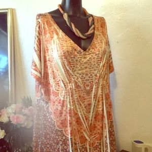 Cato Women Floral Slash Pattern V Neck Dress